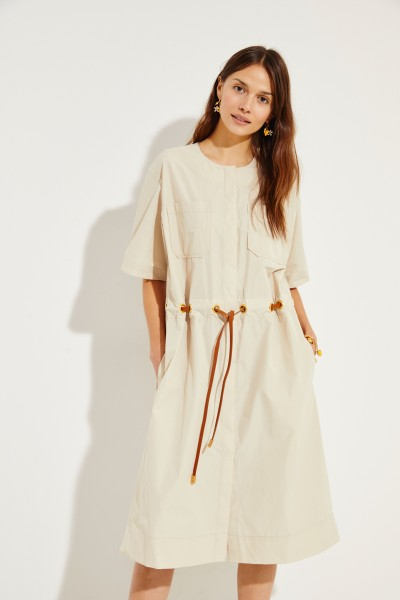 Midi dress with drawstring element Beige