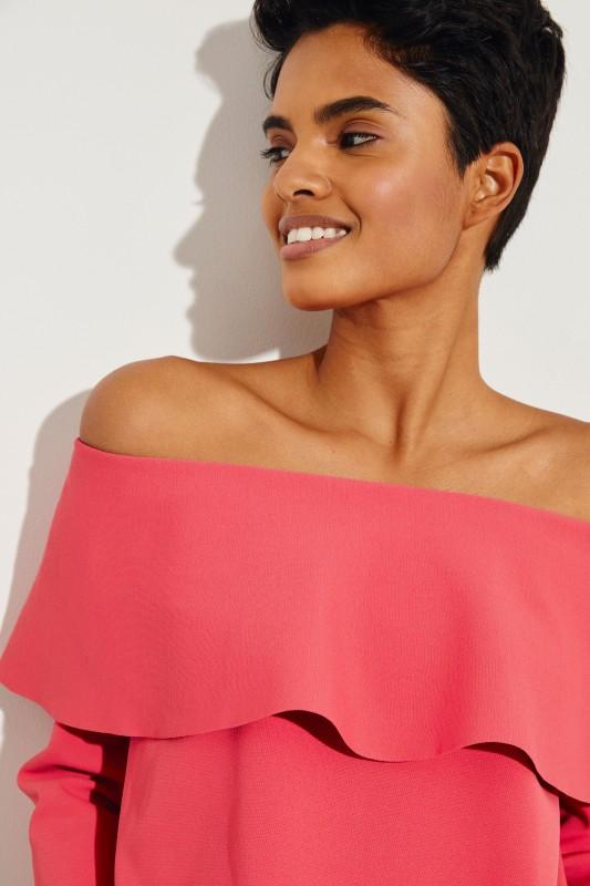 Off-Shoulder Bluse mit Volant Pink