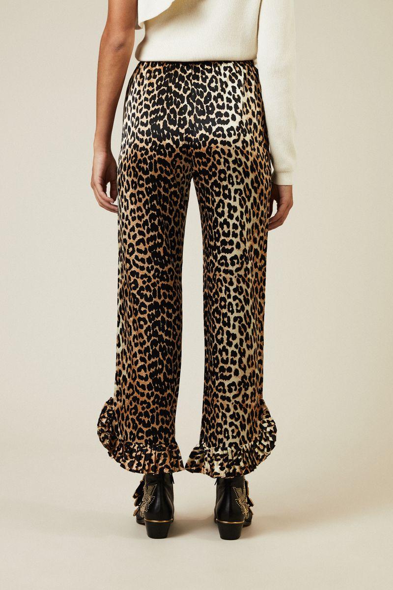Gemusterte Seidenhose 'Calla' Leopard