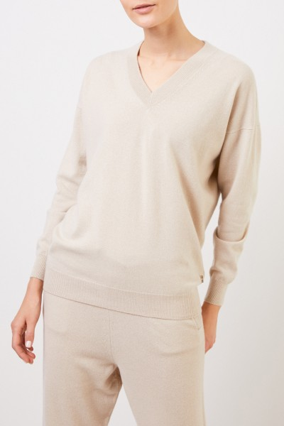 Colombo Cashmere Sweater with V-Neck Beige