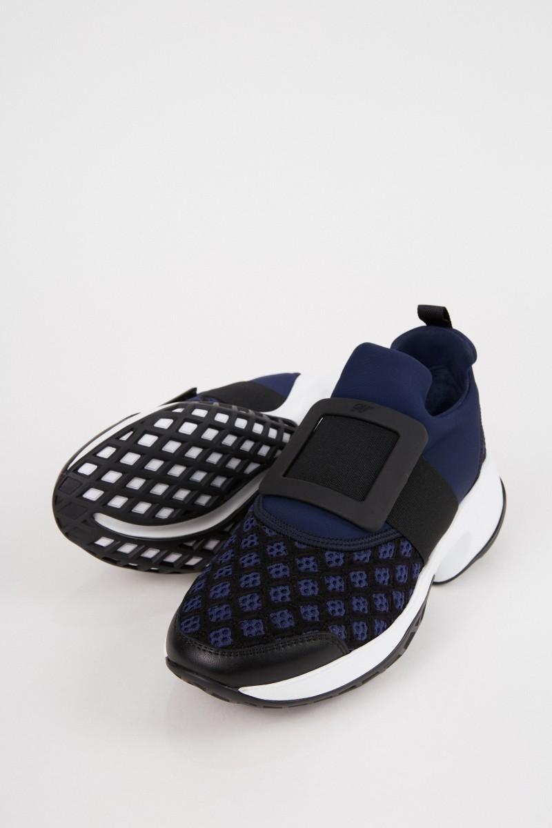 Roger Vivier Sneaker 'Viv Run' mit Schnalle Blau/Schwarz