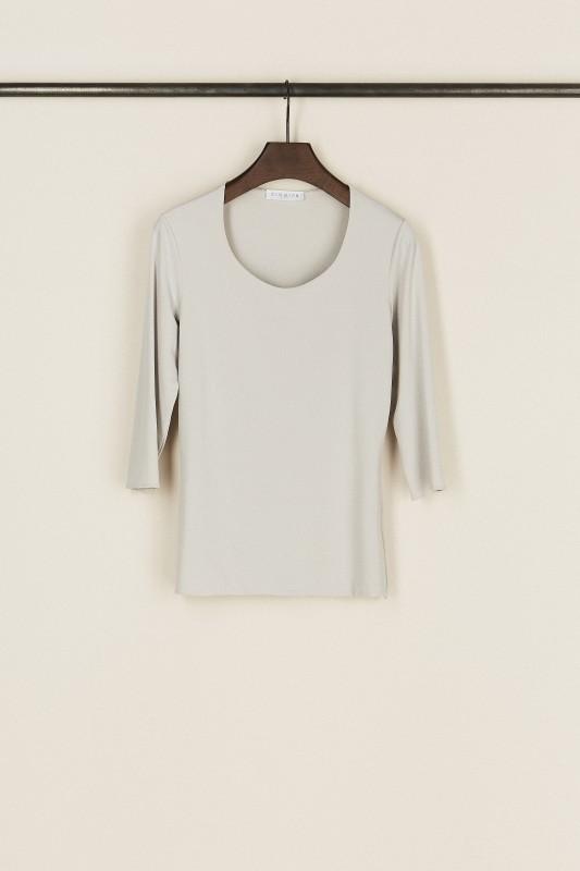 Basic-Shirt mit Rundhals-Ausschnitt Silber