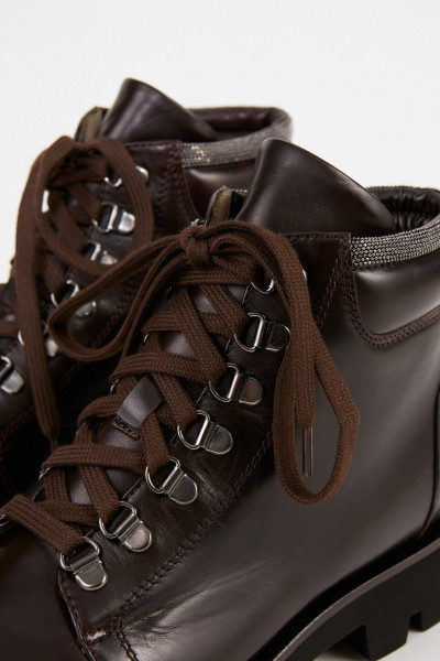 Fabiana Filippi Leather boots with pearls Dark Brown