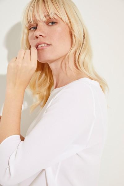 Seiden-Bluse 'Amber' mit 3/4-Arm Weiß