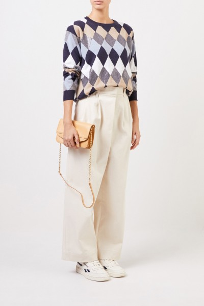 Woll-Pullover mit Karomuster Blau/Multi