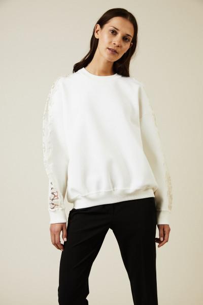 Sweatshirt mit Lace-Details Weiß