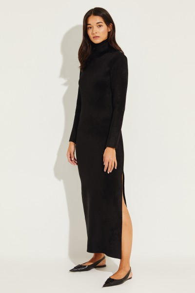 Maxi dress with slit detail black