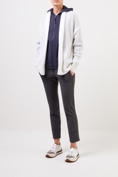 Brunello Cucinelli Mohair-Woll-Cardigan mit Knopf Weiß