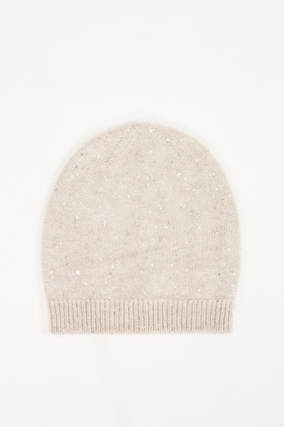 Fabiana Filippi Wool-Silk-Cap with Sequined Decoration Sand