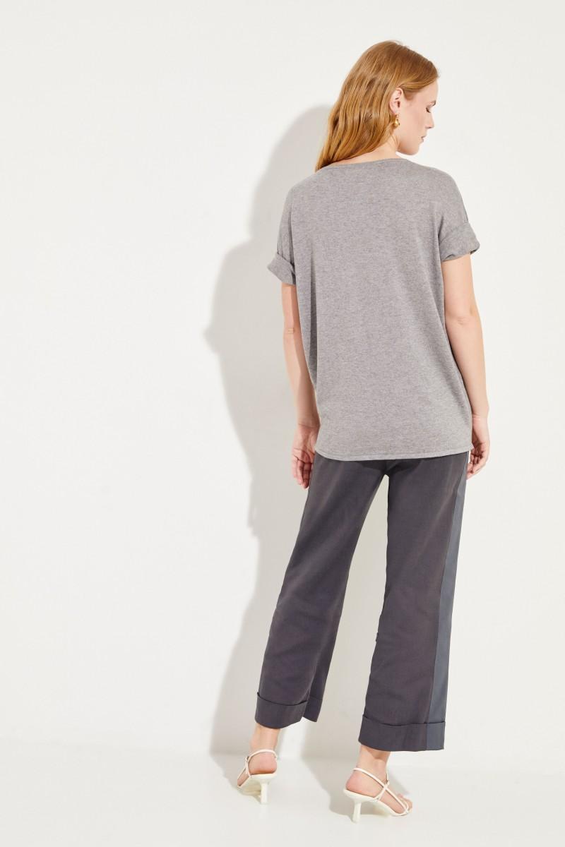 Kurzarm Seiden-Cashmere-Pullover Grau