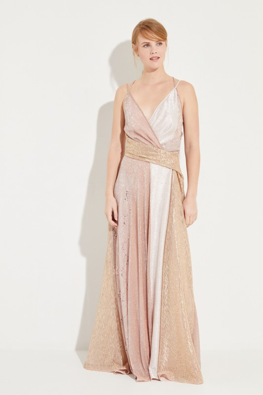 Langes Abendkleid mit Lurexdetails Rosé/Multi