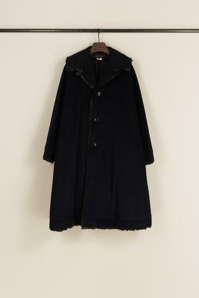 Oversize Angora-Woll-Mantel Blau