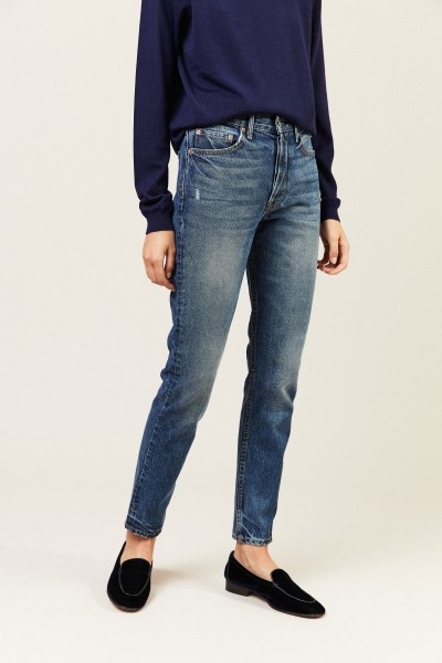 High-Rise-Jeans 'Karolina' Mittelblau