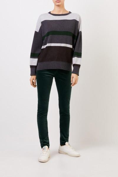 Striped wool silk pullover Grey/Green