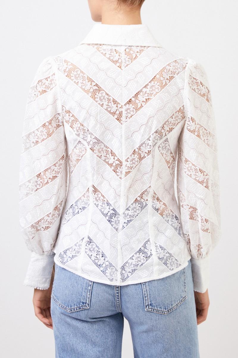 Zimmermann Bluse mit Spitzendetails Weiß