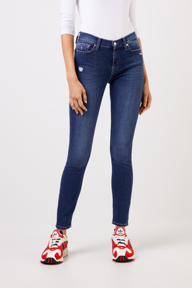 7 for all mankind Skinny-Jeans mit Used-Look 'The Skinny' Blau