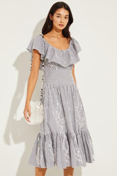 Baumwoll-Kleid mit Stickerei und Gürtel Blau/Weiß