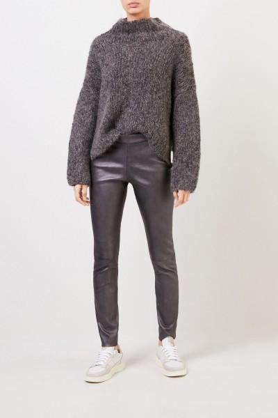 Fabiana Filippi Suede leggings with shine-effect Graphite