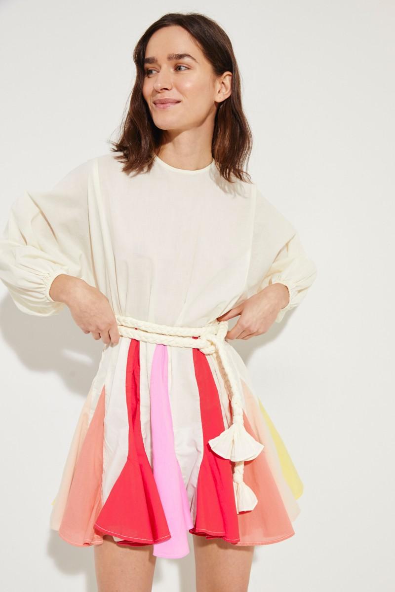 Kleid 'Ella' mit Bindedetail Créme/Multi
