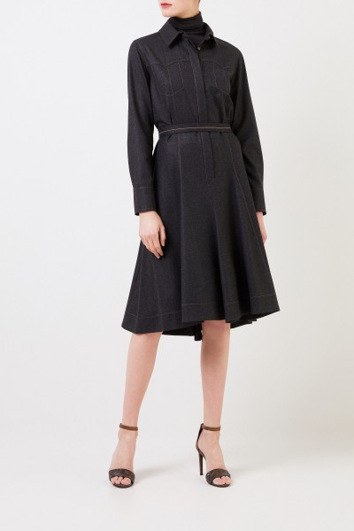 Brunello Cucinelli Wool shirt dress with pearl decoration Grey