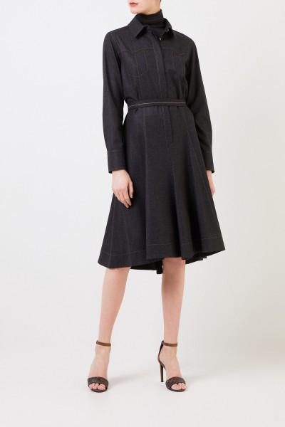 Woll-Hemdblusenkleid mit Perlenverzierung Grau