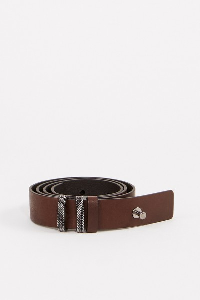 Leather belt with pearl decoration Brown