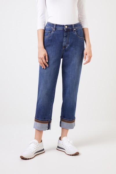 Brunello Cucinelli Jeans 'The Skater Jean' mit Perlenverzierung Blau