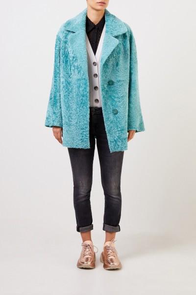Furry Reversible lambskin jacket Aqua