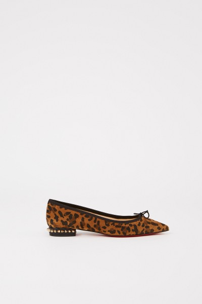 Christian Louboutin Pointed suede-leather flat 'Hall' with leoprint Multi