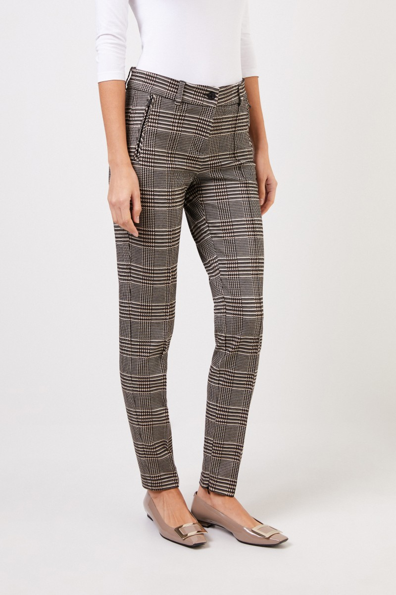 Cambio Trousers with glencheck black/beige