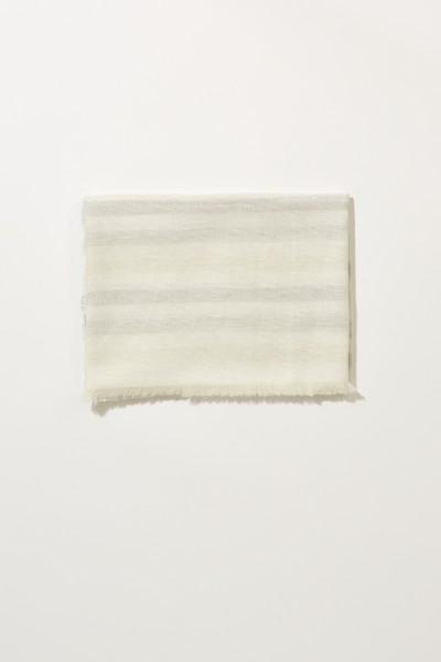 Leinen-Schal mit Lurexdetails Créme/Silber