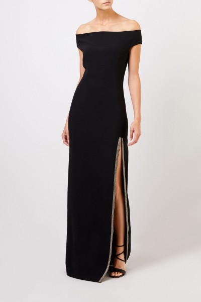 Long evening dress with slit Black