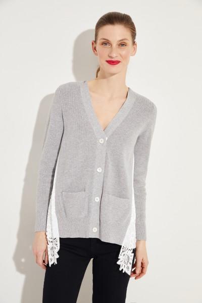 Cardigan mit Plissee-Detail Grau/Weiß