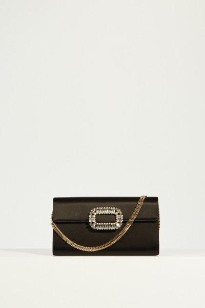 Satin-Clutch 'Envelope Flap' Schwarz