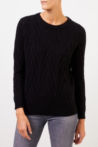 Uzwei Cashmere sweater with knit pattern Black