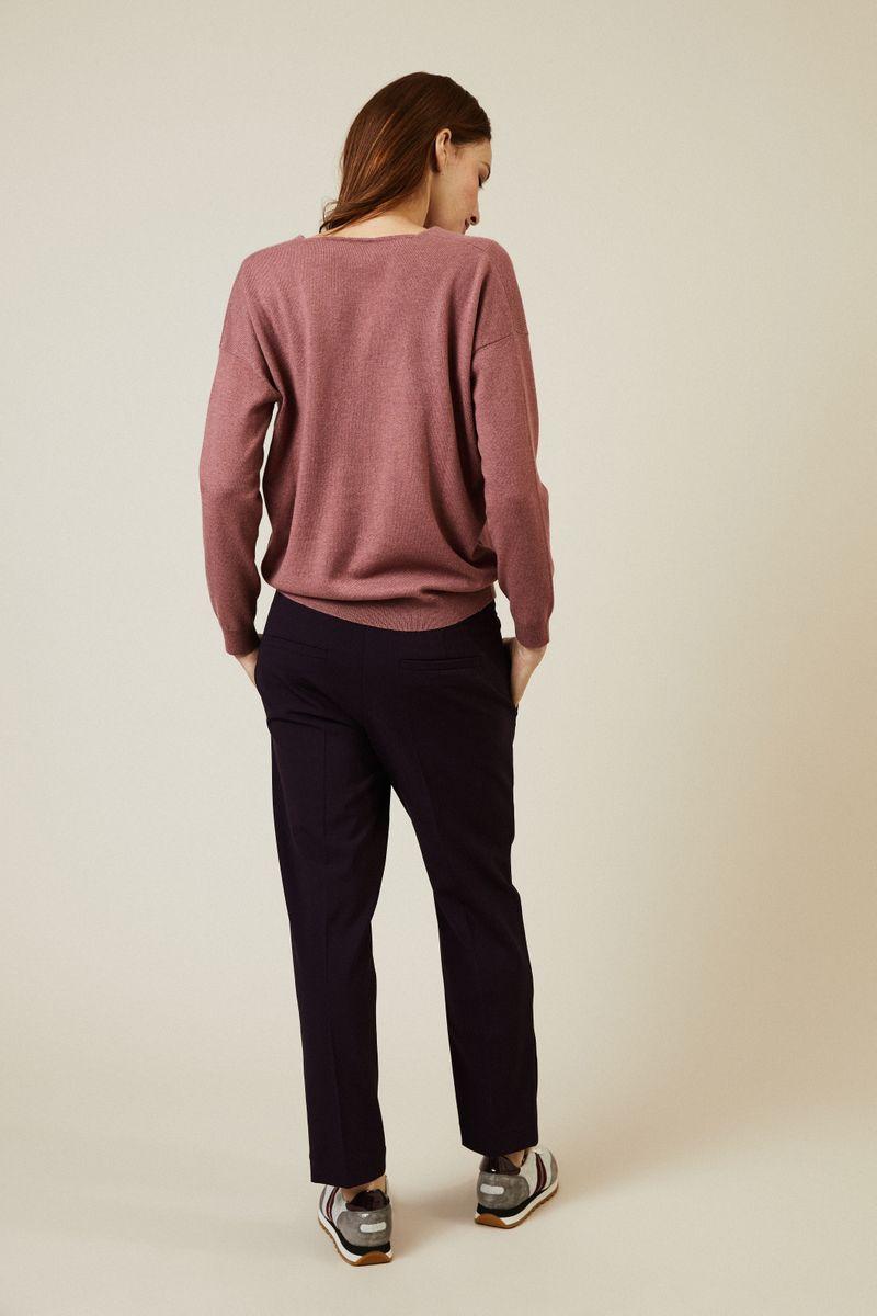 Oversized Cashmere-Pullover mit Perlenverzierung Rosenholz