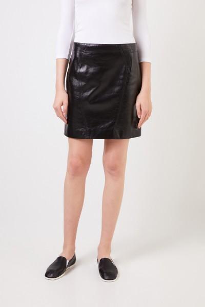 Givenchy Lederrock mit Stepp-Details Schwarz
