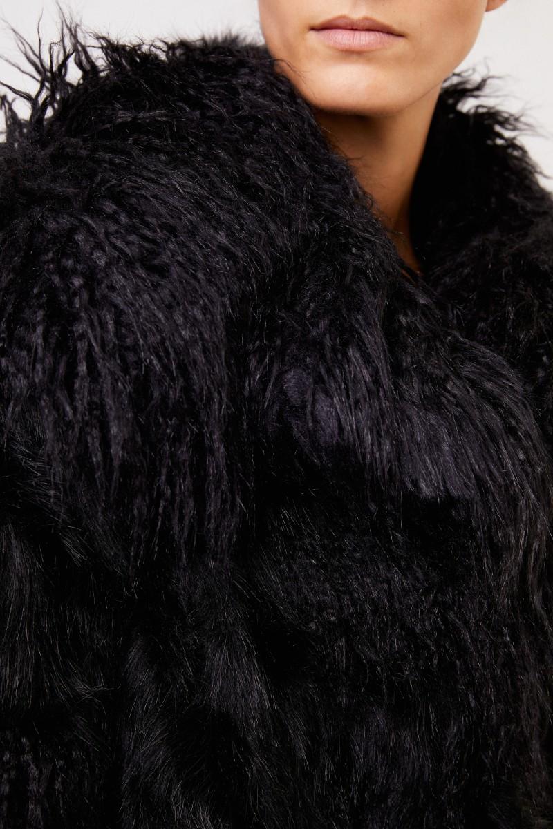 Stella McCartney Langhaar Faux Fur Jacke Schwarz