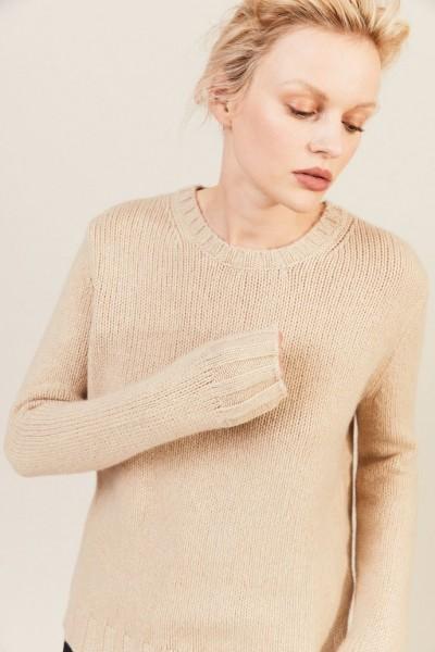 Rippstrick-Cashmere-Pullover Beige