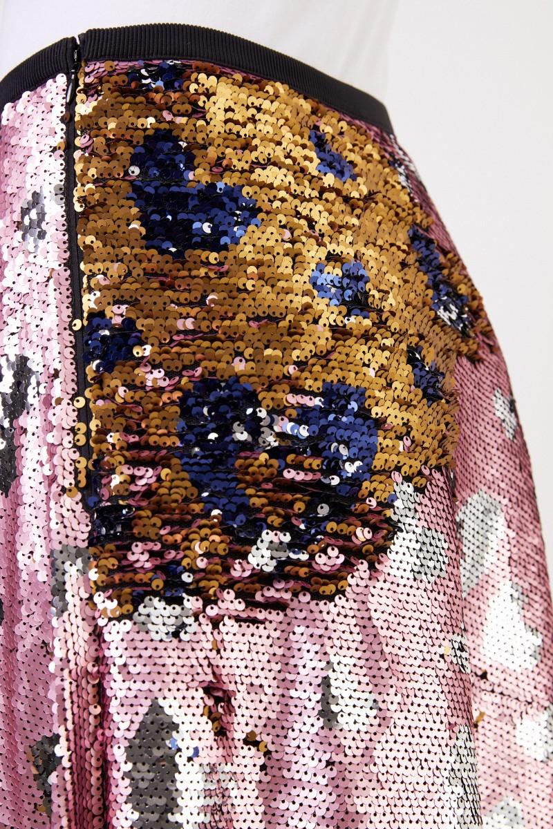 Talbot Runhof Langer Paillettenrock mit Herz-Muster Rosé/Multi