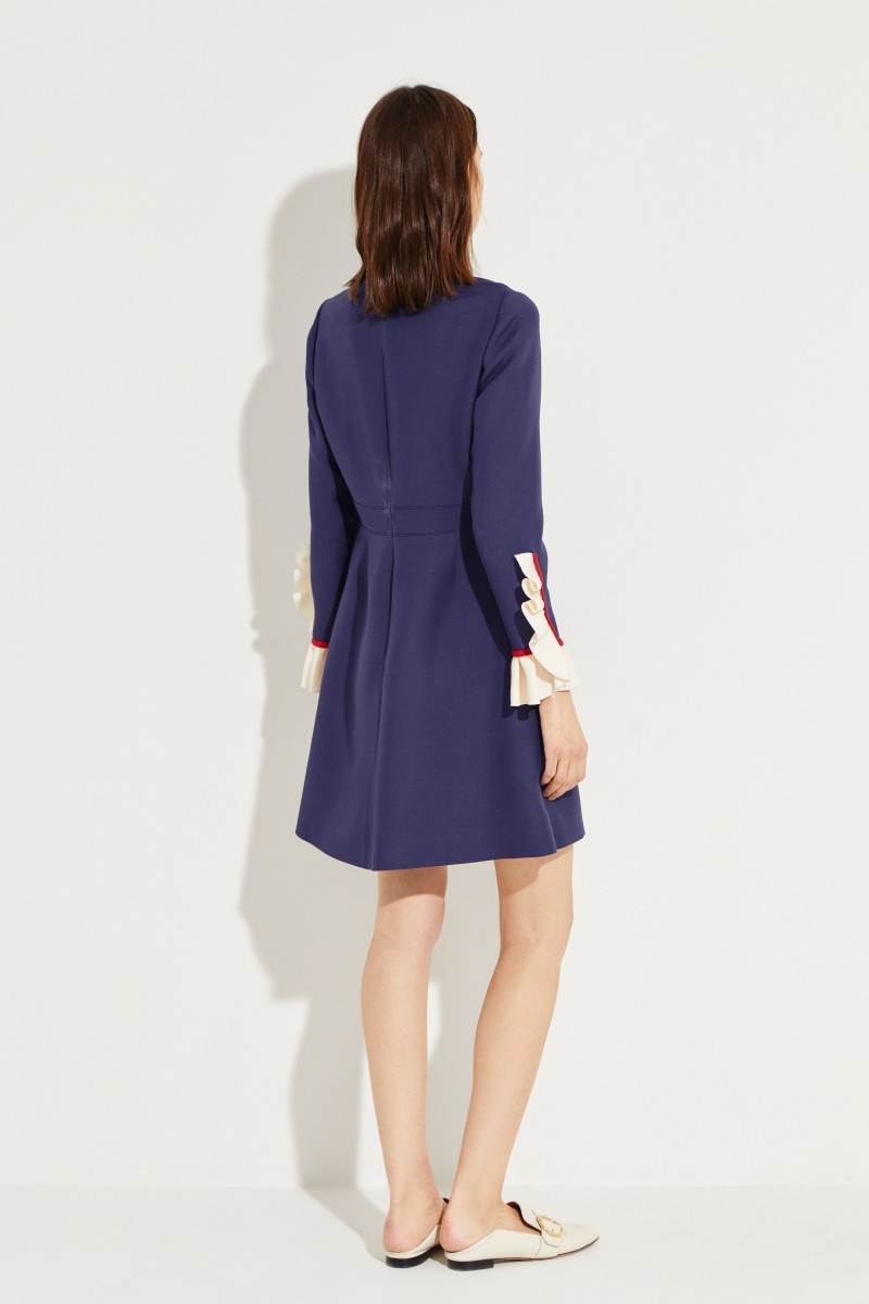 Wool silk dress with frill details Blue