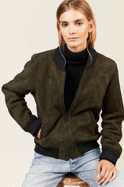 Lammfell Bomber-Jacke Hunter Green