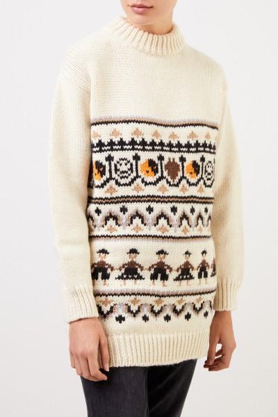Ganni Handknitted wool alpaca sweater with pattern Ecu/Multi