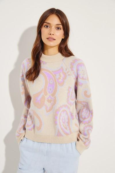 Woll-Pullover 'Casey' mit Print Beige/Multi