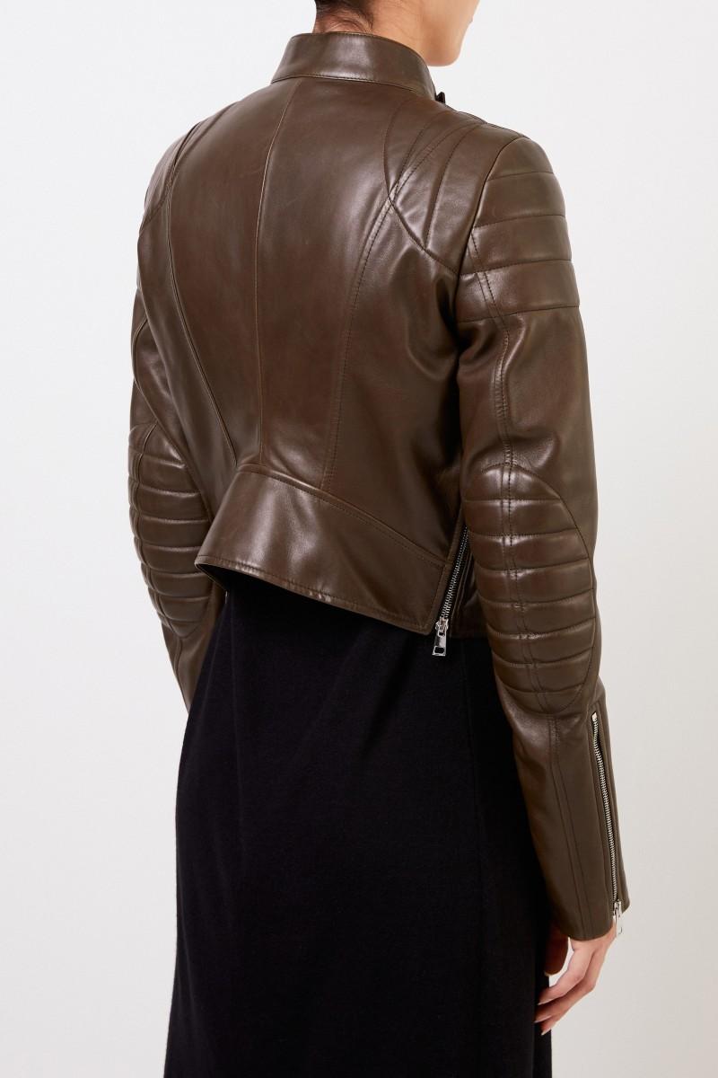 Bottega Veneta Kurze Lederjacke mit Reißverschlussdetails Braun