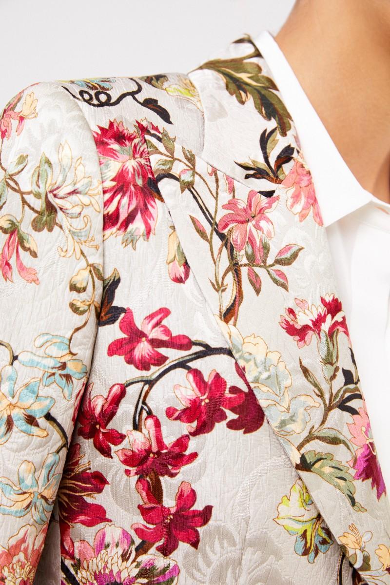 Blazer mit floralem Print Beige/Multi