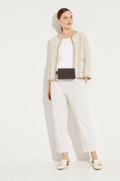 Tweed-Blazer mit Lurexdetails Beige/Weiß