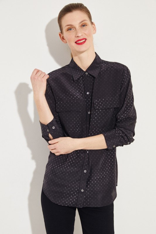 5363bc34927487 Silk blouse  Signature  with star print black