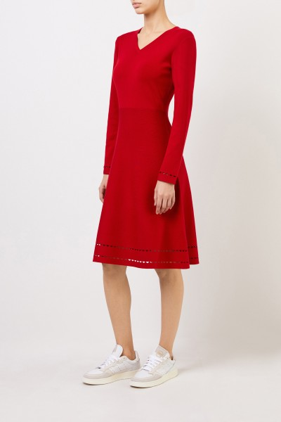 Knitted dress with cut-outs Red