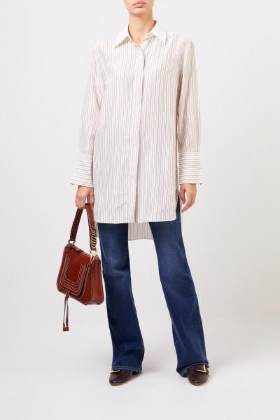 Chloé Long silk blouse with chain print Pristine White